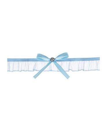 Podväzok pre nevestu -šifónový modrý s mašľou1ks