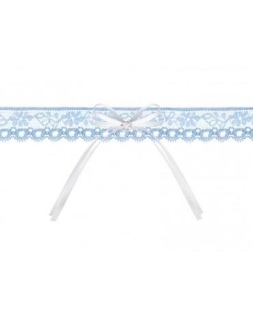 Podväzok pre nevestu -čipkovaný -modrý s mašľou 1ks