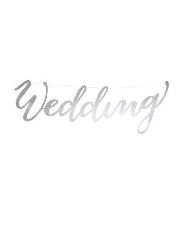 Banner Wedding-strieborný 16,5x45cm 1ks