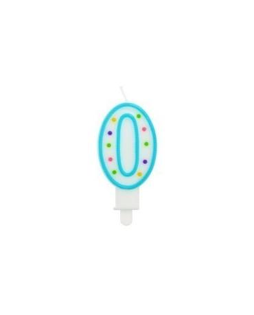 Sviečka - číslo 0 - bodky 7,5cm