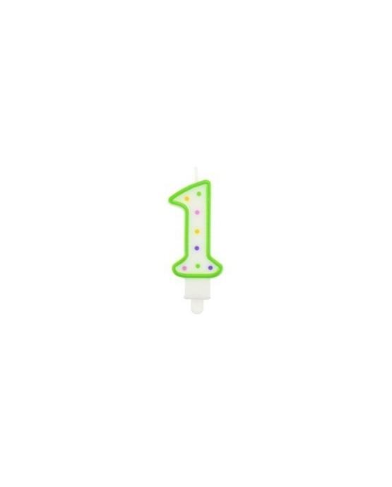 Sviečka - číslo 1 - bodky 7,5cm