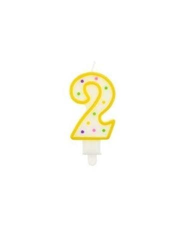 Sviečka - číslo 2 - bodky 7,5cm