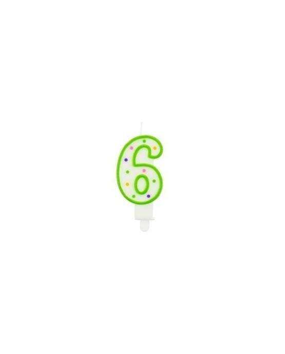 Sviečka - číslo 6 - bodky 7,5cm