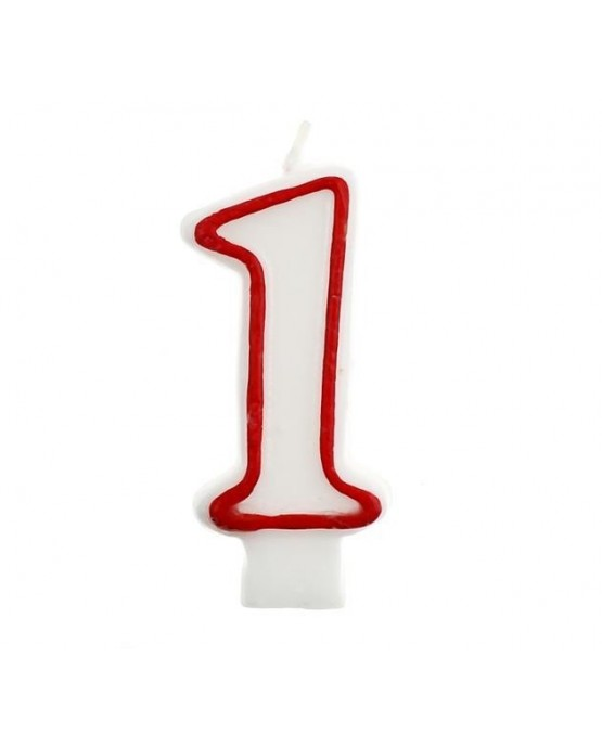 Sviečka číslo 1 -červeno-biela 7cm 1ks