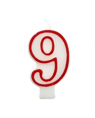 Sviečka číslo 9 - červeno-biela 7cm 1ks