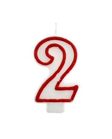Sviečka číslo 2 - červeno-biela 7cm 1ks