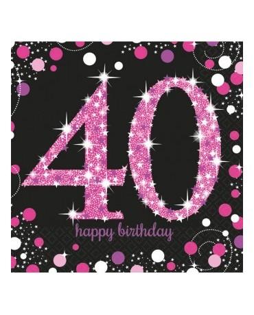 Servítky 40. narodeniny- ružové 33cm 16ks