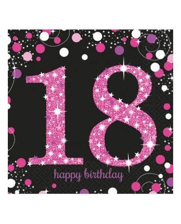 Servítky 18. narodeniny- ružové 33cm 16ks