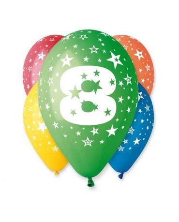 Latexové balóny číslo 8- hviezdy 30cm 10ks