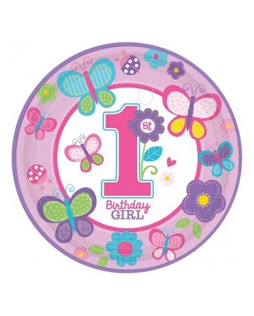 Tanieriky Birthday girl č.1 -23 cm 8ks