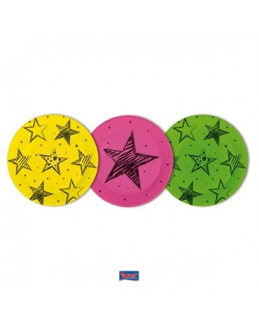 Tanieriky neon party 23cm 6ks