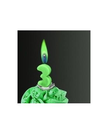 Sviečka - číslo 3 -zelený plameň