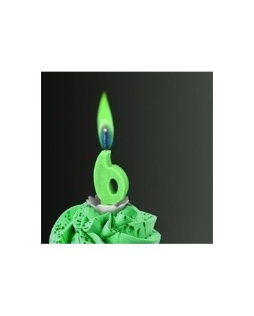 Sviečka - číslo 6 -zelený plameň