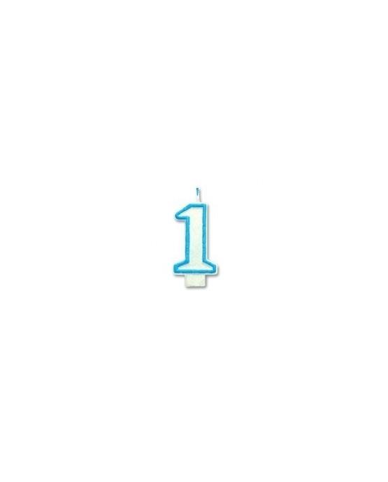 Sviečka - číslica 1 - s modrým okrajom a s trblietkami 1ks/P146