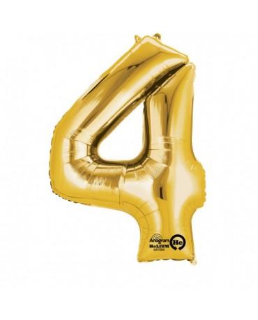 Fóliový balón číslo 4- zlatý 66x88cm