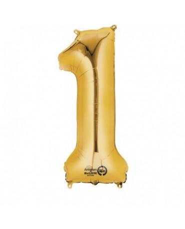 Fóliový balón číslo 1- zlatý  33x86cm