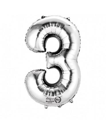 Fóliový balón číslo 3- strieborný 53x88cm