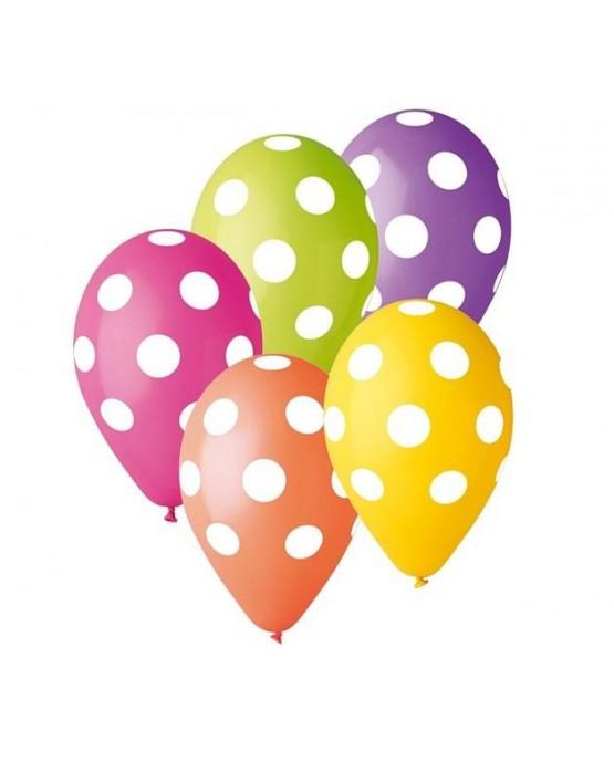 Latexové balóny farebné -biele bodky 30cm10ks