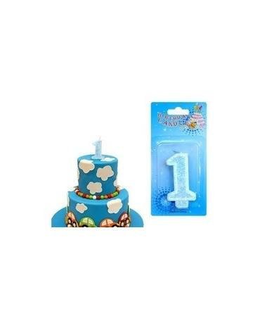 Sviečka - číslo 1 - modrá -trblietavá