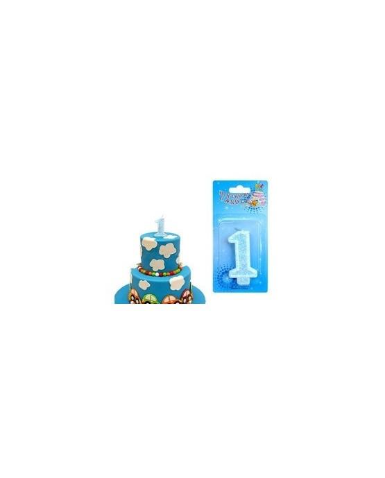 Sviečka - číslica 1 - modrá 1ks/P146
