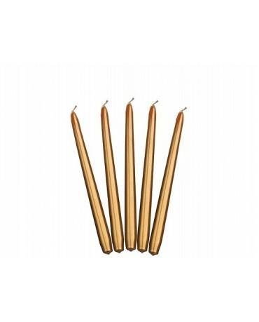 Sviečky - metalické zlaté 24cm 10ks