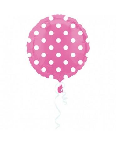 Fóliový balón - ružový- biele bodky 43cm