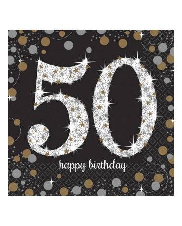 Servítky 50. narodeniny -zlaté 33cm 16ks