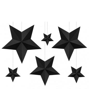 Dekorácia hviezdy - čierne 6ks