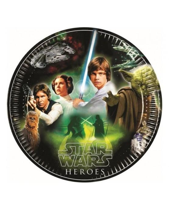 Tanieriky Star Wars - zelené 23 cm - 8 ks