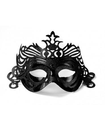 Benátska maska -čierna s ornamentom