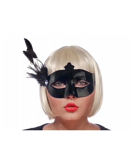 Benátska maska -čierna s pierkom