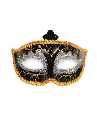 Benátska maska -čierno - strieborná