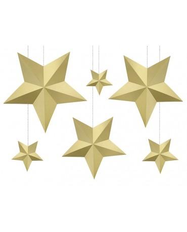 Dekorácia hviezdy -zlaté 6ks