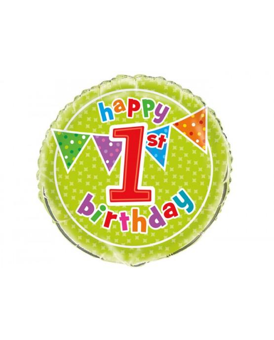 Fóliový balón Birthday- číslo 1- 47cm
