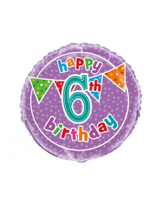 Fóliový balón Birthday- číslo 6- 47cm