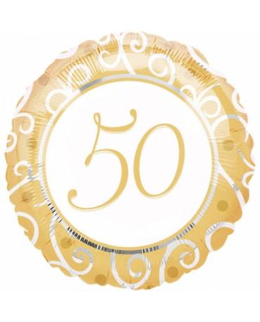 Fóliový balón číslo 50- zlatý
