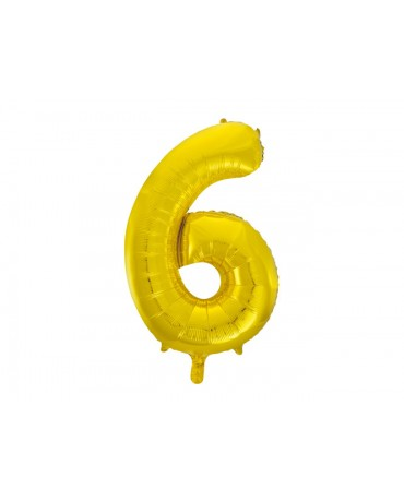 Fóliový balón číslo 6 -zlatý 86cm