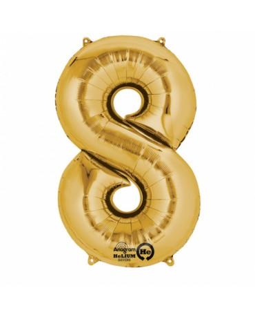 Fóliový balón číslo 8-zlatý 53x83cm