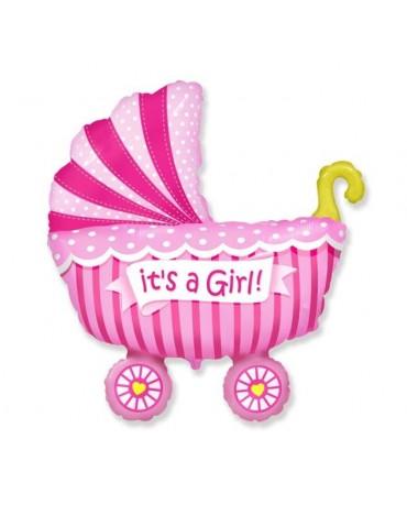 """Fóliový balón ružový kočík 24"""""""