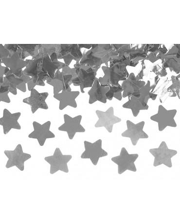 Konfety - strieborné hviezdy 80cm