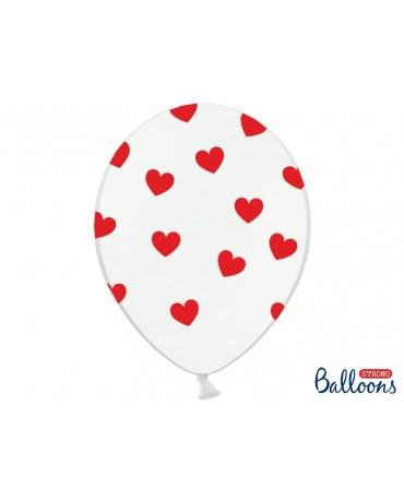 Latexové balóny biele- červené srdcia 30cm 10ks