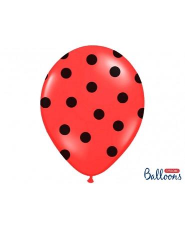 Latexové balóny červené -čierne bodky 30cm 10ks