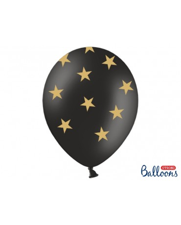 Latexové balóny čierne -zlaté hviezdy 30cm 10ks