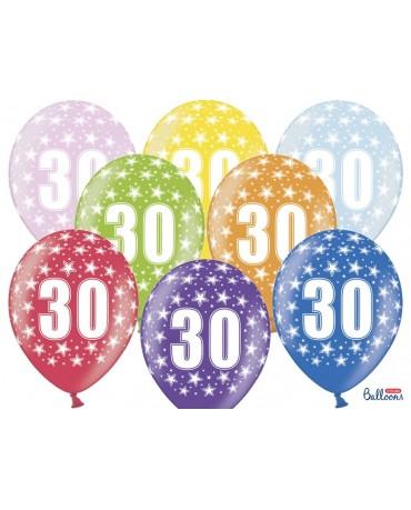 Latexové balóny číslice 30 -hviezdy 30cm 10ks