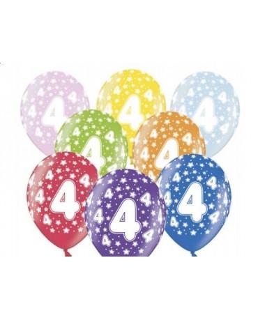 Latexové balóny číslo 4-hviezdy 30cm 10ks