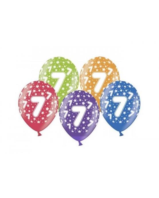 Latexové balóny číslo 7-hviezdy 30cm 10ks