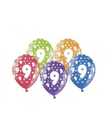 Latexové balóny číslo 9-hviezdy 30cm 10ks