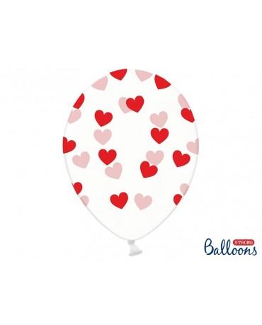 Latexové balóny priehľadné- červené srdcia 30cm 10ks