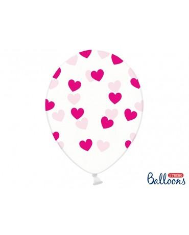 Latexové balóny priehľadné-ružové srdcia 30cm 10ks