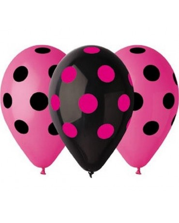 Latexové balóny ružové a čierne- bodky 30cm 10ks
